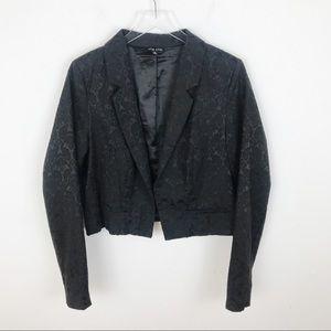 City Chic Jaquered Black Crop Blazer Jacket 18